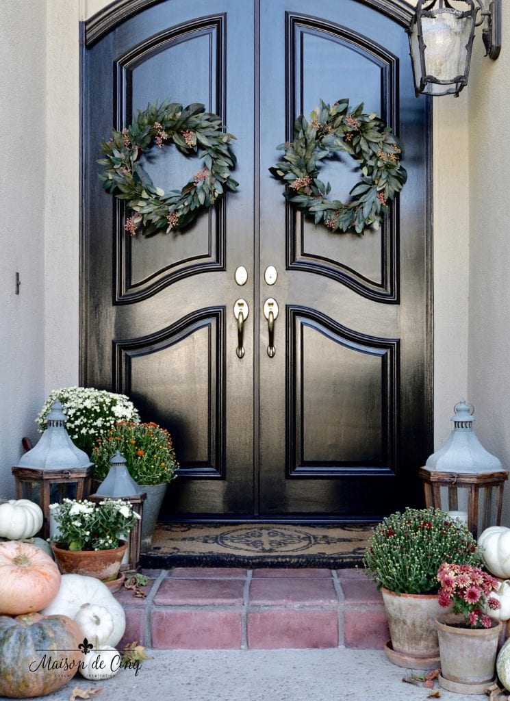 fall porch decor faded autumn colors black doors with gorgeous wreaths and mums