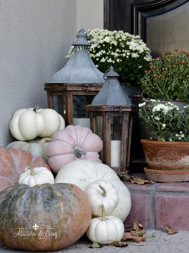lanterns with heirloom pumpkins fall porch decorating ideas autumn decor