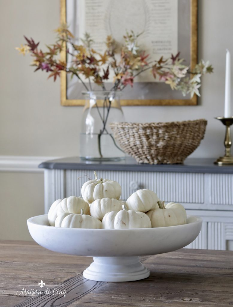 white pumpkins in white marble bowl simple fall decorating ideas