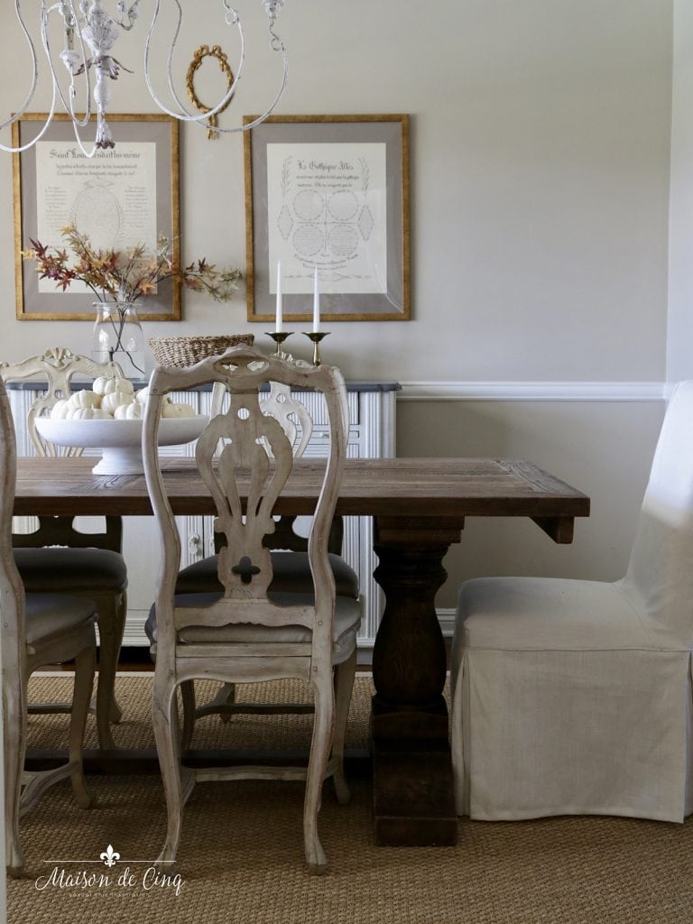 fall dining room white pumpkin in white marble bowl on farmhouse table french country room