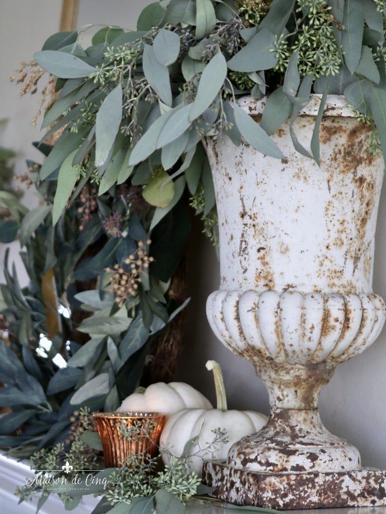 gorgeous vintage French cast iron urn with eucalyptus
