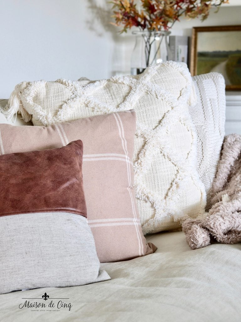 brown plaid and cozy sherpa fall pillows