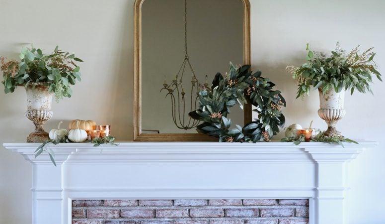 Simple Fall Mantel Decor in Soft Seasonal Colors