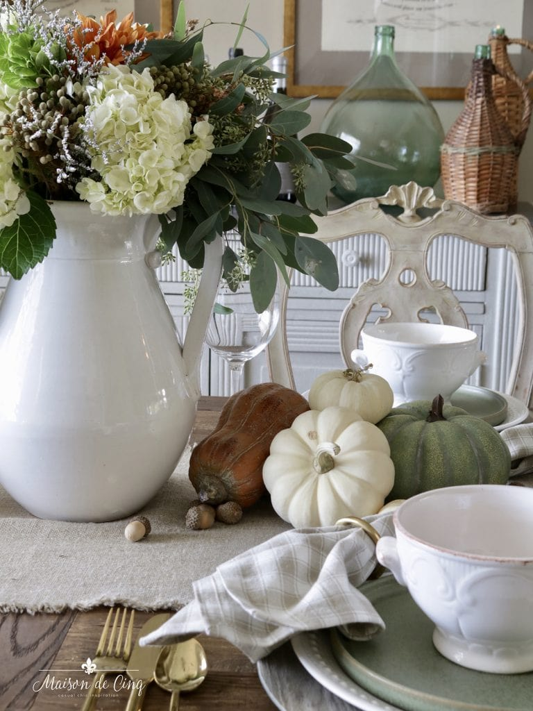 fall harvest dinner party with gorgeous florals acorns and pumpkins fall table setting ideas