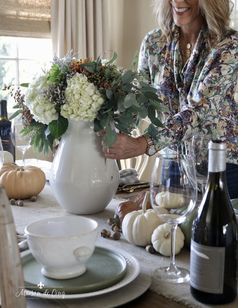 fall harvest dinner party tips pretty florals setting the table