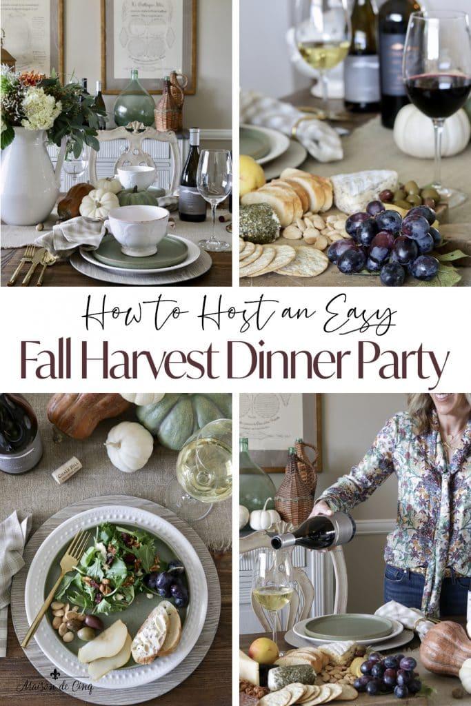 Fall Harvest Dinner Party graphic Maison de Cinq