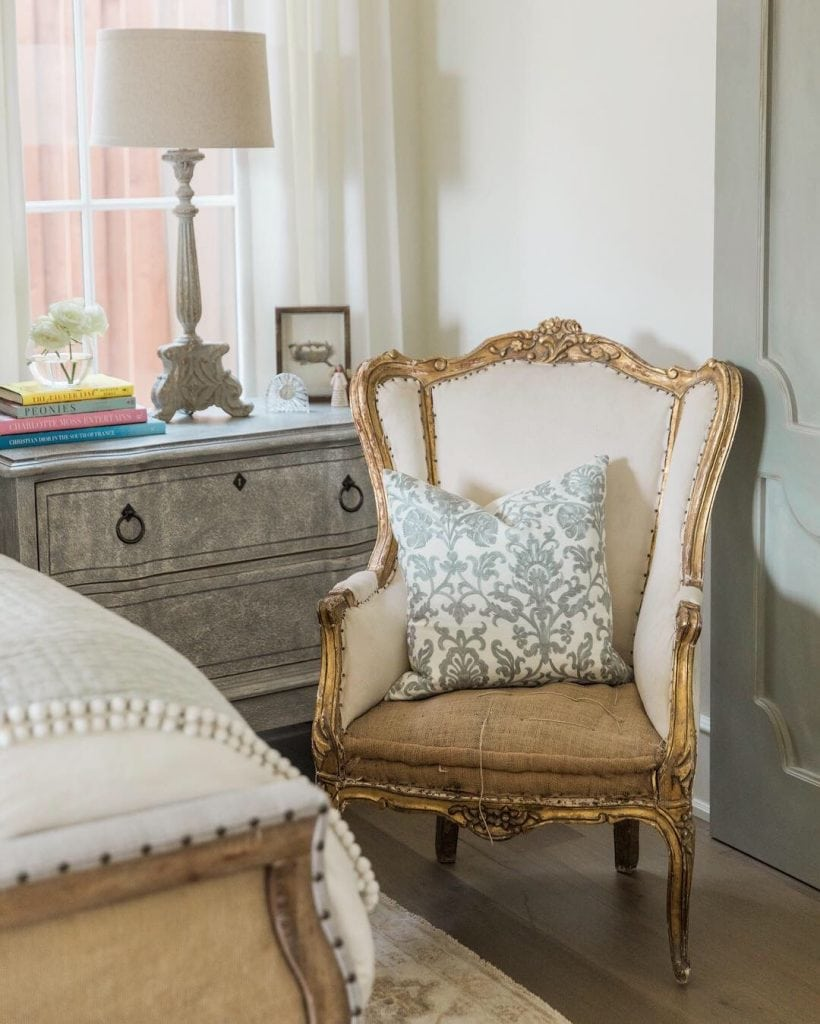 rustic French chair with spa blue pillow master bedroom design ideas